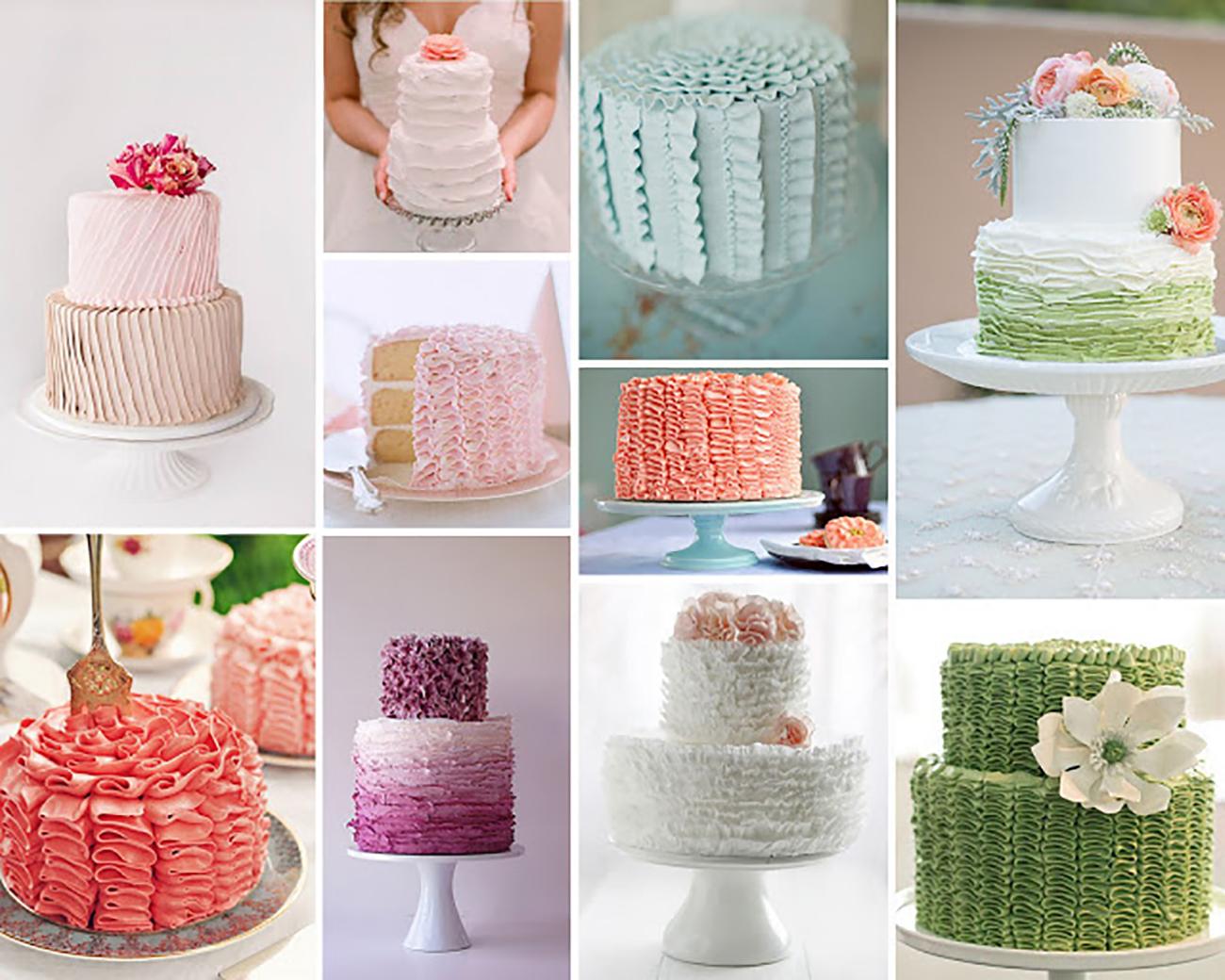 Romantické volánikové torty
